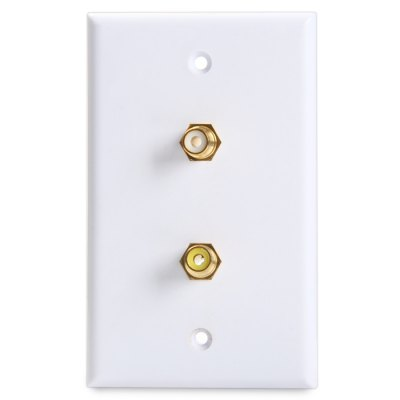 2-Port RCA Female to Female Connector Wall Plate