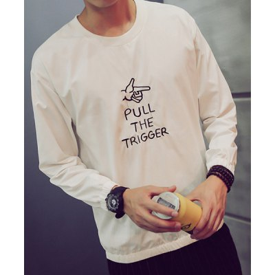 Гаджет   Slimming Round Neck Letters Gesture Embroidered Solid Color Men