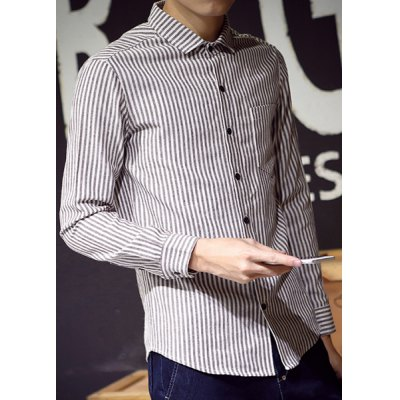 Гаджет   Linen+Cotton One Patch Pocket Hit Color Shirt Collar Long Sleeves Slimming Men