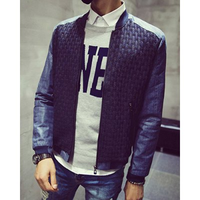 Гаджет   Casual Stand Collar Special Plaid Spliced Zipper Pocket Slimming Long Sleeves Men