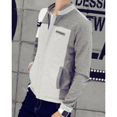 Гаджет   Plus Size Slimming Stand Collar Patch Pocket Color Spliced Long Sleeves Men