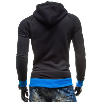 Гаджет   Inclined Zipper Classic Color Lump Splicing Rib Hem Slimming Hooded Long Sleeves Men