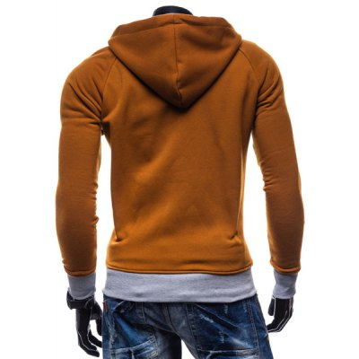 Гаджет   Classic Color Lump Splicing Rib Hem Patch Pocket Hooded Long Sleeves Men