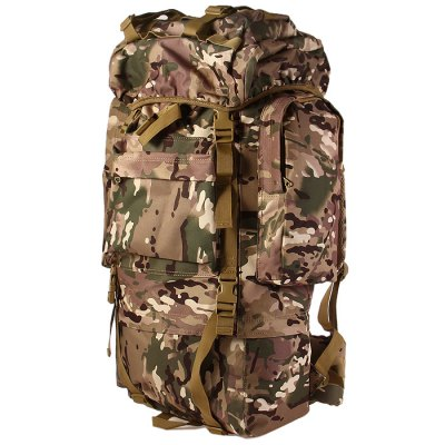 Outdoor 65L Large Capacity Nylon Camping Backpack with Steel Support