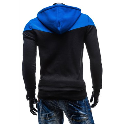 Гаджет   Fashion Two-Tone Spliced Front Pocket Slimming Hooded Long Sleeves Men