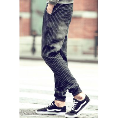 Гаджет   Lace-Up Beam Feet Vertical Stripe Slimming Low Crotch Men