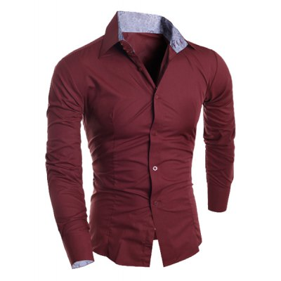 Гаджет   Casual Shirt Collar Color Block Paisley Spliced Long Sleeves Slimming Men