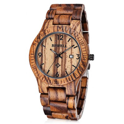 Bewell 2538 Maple Band Men Japan Quartz Watch