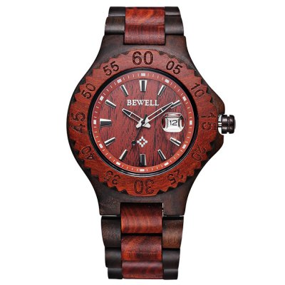 Гаджет   Bewell 2541 Date Function Male Japan Quartz Watch with Sandalwood Band Men