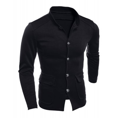 Гаджет   Slimming Stand Collar Large Patch Pocket Solid Color Single-Breasted Men