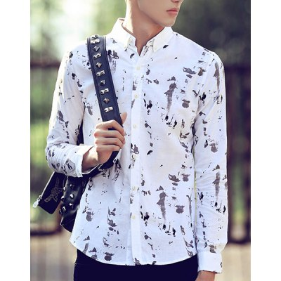 Гаджет   Turn-Down Collar Slimming Splash-Ink Print Long Sleeve Men