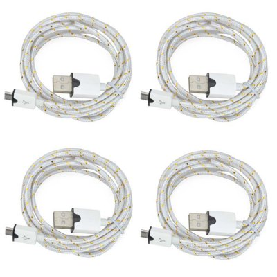 2m Micro USB 2.0 Male to Male Braided Round Nylon Charging Data Cable - 4PCS