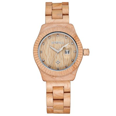 ФОТО Bewell Women Japan Diamond Quartz Watch with Date Function Wood Band Gear Case