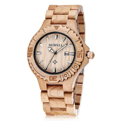 Bewell 2544 Date Function Men Japan Quartz Watch with Maple Band