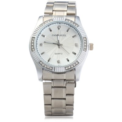 ФОТО Emmanuel 8013G Male Diamond Quartz Watch with Stainless Steel Band