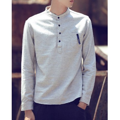 Гаджет   Stand Collar Long Sleeve Button Selvedge Embellished Slimming Men