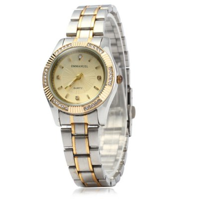 Emmanuel 8103 Rhinestone Scales Lover Quartz Watch Stainless Steel StrapCouples Watches<br>Emmanuel 8103 Rhinestone Scales Lover Quartz Watch Stainless Steel Strap<br><br>Brand: Emmanuel<br>Watches categories: Couple tables<br>Watch style: Business<br>Style elements: Stainless steel<br>Available Color: Gold<br>Shape of the dial: Round<br>Movement type: Quartz watch<br>Display type: Analog<br>Case material: Stainless steel<br>Band material: Stainless steel<br>Clasp type: Folding clasp with safety<br>Package weight: 0.216 kg<br>Package size (L x W x H): 23 x 8 x 1.9 cm / 9.04 x 3.14 x 0.75 inches<br>The male dial dimension (L x W x H): 4.0 x 4.0 x 0.9 cm / 1.57 x 1.57 x 0.35 inches<br>The male watch band dimension (L x W): 22 x 2.0 cm / 8.65 x 0.79 inches<br>The male watch weight: 0.095 kg<br>The male watch size (L x W x H): 22.0 x 4.0 x 0.9 cm / 8.65 x 1.57 x 0.35 inches<br>The female dial dimension (L x W x H): 3.0 x 3.0 x 0.8 cm / 1.18 x 1.18 x 0.31 inches<br>The female watch band dimension (L x W): 20 x 1.5 cm / 7.86 x 0.59 inches<br>The female watch weight: 0.068 kg<br>The female size (L x W x H): 20 x 3 x 0.8 cm / 7.86 x 1.18 x 0.31 inches<br>Package contents: 2 x Emmanuel 8103 Watch