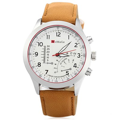 Womage Male Quartz Watch with Nubuck Leather Strap Decorative Sub-dial