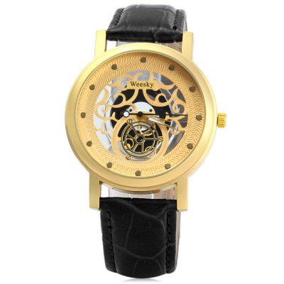 Гаджет   Weesky Transparent Dial Men Quartz Watch with Leather Band Hollow-out Design Men