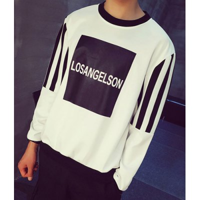 Гаджет   Slimming Round Neck Reverse Letter Print Stripe Splicing Long Sleeve Men