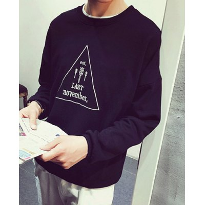 Гаджет   Slimming Round Neck Letter Arrow Triangle Embroidered Long Sleeve Men