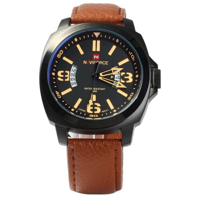 Naviforce NF9062M Men Japan Quartz WatchMens Watches<br>Naviforce NF9062M Men Japan Quartz Watch<br><br>Brand: Naviforce<br>Watches categories: Male table<br>Watch style: Casual<br>Style elements: Stainless steel<br>Available color: Orange, Black, Brown<br>Movement type: Quartz watch<br>Shape of the dial: Round<br>Display type: Analog<br>Case material: Stainless steel<br>Band material: Genuine leather<br>Clasp type: Pin buckle<br>Special features: Date<br>Water Resistance: 30 meters<br>The dial thickness: 1.0 cm / 0.39 inches<br>The dial diameter: 4.6 cm / 1.81 inches<br>The band width: 2.3 cm / 0.91 inches<br>Wearable Length:: 18 - 22.5 cm / 7.09 - 8.86 inches<br>Product weight: 0.086 kg<br>Package weight: 0.136 kg<br>Product size (L x W x H): 27 x 4.6 x 1 cm / 10.61 x 1.81 x 0.39 inches<br>Package size (L x W x H): 28 x 5.6 x 2 cm / 11.00 x 2.20 x 0.79 inches<br>Package Contents: 1 x Naviforce NF9062M Watch