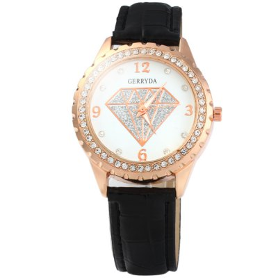 Гаджет   Gerryda Glossy Leather Band Diamond Women Quartz Watch Women
