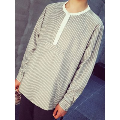 Гаджет   Loose-Fitting Collarless Vertical Stripe Long Sleeve Men