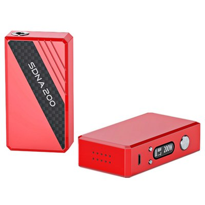 Original SMY SDNA 200 200W TC Box Mod - SMYTemperature Control Mods<br>Original SMY SDNA 200 200W TC Box Mod<br><br>Type: Electronic Cigarettes Accessories<br>Brand: SMY<br>Accessories type: MOD<br>Material: Aluminum Alloy<br>Mod: VV/VW Mod,Temperature Control Mod<br>APV Mod Wattage Range: 151-200W<br>Temperature Control Range: 200F - 600F<br>510 Connector Type: Spring Loaded<br>Atmoizer Connector Diameter: 25mm<br>Power Supply: Built-in rechargeable battery<br>Battery Capacity: 4800mAh<br>Charge way: USB<br>Available color: Red,Black,White<br>Product weight: 0.015 kg<br>Package weight: 0.150 kg<br>Product size (L x W x H): 2.500 x 5.150 x 9.350 cm / 0.984 x 2.028 x 3.681 inches<br>Package size (L x W x H): 6.000 x 9.000 x 15.000 cm / 2.362 x 3.543 x 5.906 inches<br>Package Contents: 1 x Original SMY SDNA 200 200W TC Box Mod, 1 x English User Manual, 1 x USB Charger