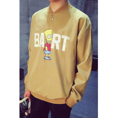 Гаджет   Round Neck Simpson Letter Print Button Embellished Long Sleeve Men