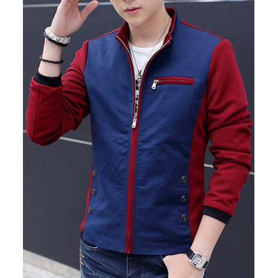 Гаджет   Trendy Loose Fit Stand Collar Multi-Button Color Spliced Zipper Design Men