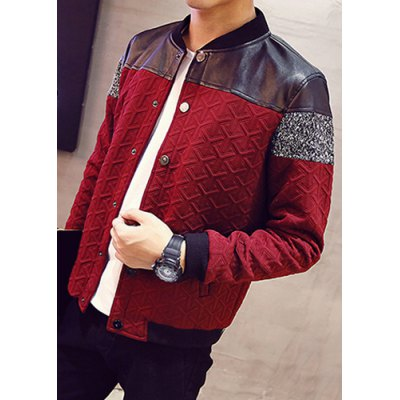 Гаджет   Vogue Stand Collar PU Leather Spliced Geometric Knurling Hit Color Long Sleeves Men
