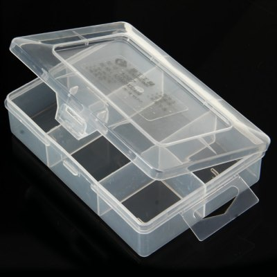 1207 Plastic BoxStorage Supplies<br>1207 Plastic Box<br><br>Material  : PP<br>Special Function  : Storage<br>Optional Color  : Transparent<br>Product Weight   : 0.047 kg<br>Package Weight   : 0.098 kg<br>Product Size (L x W x H)  : 11.8 x 8.2 x 3.3 cm / 4.64 x 3.22 x 1.30 inches<br>Package Size (L x W x H)  : 12.8 x 9.2 x 4.3 cm / 5.03 x 3.62 x 1.69 inches<br>Package Contents: 1 x 1207 5 Grid Plastic Box