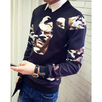 Round Neck Slimming Abstract Face Print Long Sleeve Mens SweatshirtMens Hoodies &amp; Sweatshirts<br>Round Neck Slimming Abstract Face Print Long Sleeve Mens Sweatshirt<br><br>Material: Cotton, Polyester<br>Clothing Length: Regular<br>Sleeve Length: Full<br>Style: Fashion<br>Weight: 0.508KG<br>Package Contents: 1 x Sweatshirt
