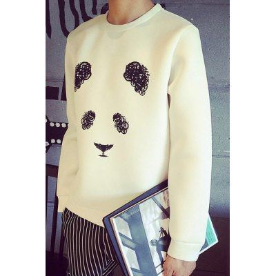 Гаджет   Slimming Round Neck Hand Painted Panda Print Long Sleeve Men