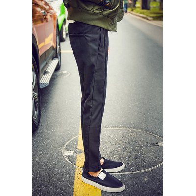 Гаджет   Simple Style Narrow Feet Solid Color Ruffles Design Slimming Lace-Up Men