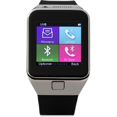 GV09 Smart Watch PhoneSmart Watch Phone<br>GV09 Smart Watch Phone<br><br>Type: Watch Phone<br>External memory: TF card up to 32GB (not included)<br>Network type: GSM<br>Frequency: GSM850/900/1800/1900MHz<br>Bluetooth: Yes<br>Screen size: 1.55 inch<br>Camera type: Single camera<br>Front camera: 0.3MP<br>SIM Card Slot: Single SIM<br>TF card slot: Yes<br>Micro USB Slot: Yes<br>Picture format: JPEG,GIF,BMP,PNG<br>Music format: AAC,MP3,WAV<br>Video format: 3GP<br>Languages: English,French,Spanish, Polish, Portuguese,Italian,German,Dutch,Turkey,Russian<br>Additional Features: Bluetooth<br>Cell Phone: 1<br>Screen Protector: 1<br>Battery: 1 x 450mAh Battery<br>USB Cable: 1<br>Earphones: 1<br>Product size: 5.900 x 3.900 x 1.200 cm / 2.323 x 1.535 x 0.472 inches<br>Package size: 11.000 x 11.000 x 9.500 cm / 4.331 x 4.331 x 3.740 inches<br>Product weight: 0.054 kg<br>Package weight: 0.250 kg
