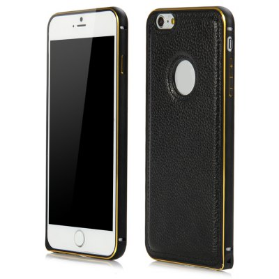 Slim PU Leather Back Cover Case with Metal Frame for iPhone 6 Plus 6S Plus 5.5 inches