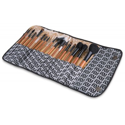 16 Pcs Wool Makeup Brush Set with Plaid Gray Bag