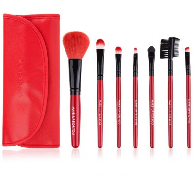 7 Pcs Cosmetic Makeup Brush Set Kit with Wooden Handle PU Brush Bag Pouch for Cosmetics Foundation