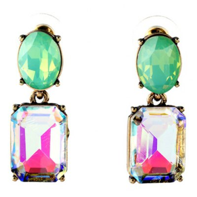 Stylish Faux Crystal Candy Color Square Oval Earrings