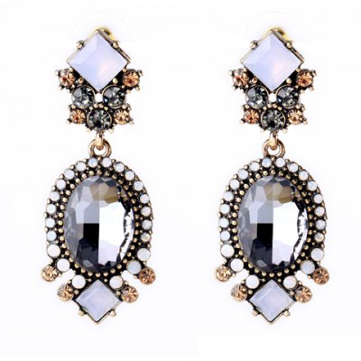 Retro Faux Crystal Square Oval Earrings