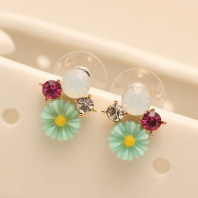 Pair of Sweet Rhinestone Candy Color Flower Earrings For Women