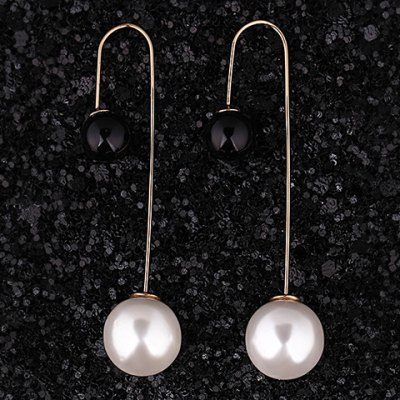 Pair of Alloy Round Faux Pearl Earrings