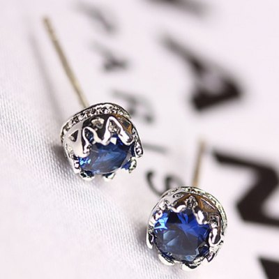 Pair of Chic Faux Sapphire Crown Women's Earrings