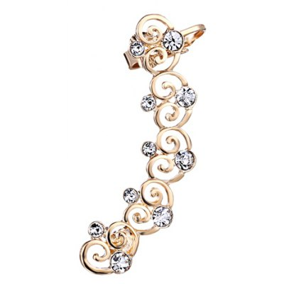 Stylish Rhinestone Hollow Out Heart Ear Cuff