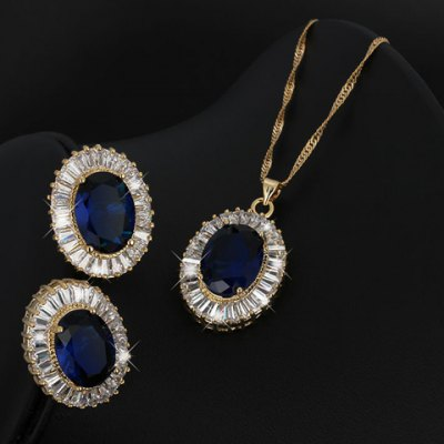 Фотография A Suit of Noble Faux Sapphire Oval Necklace and Earrings For Women