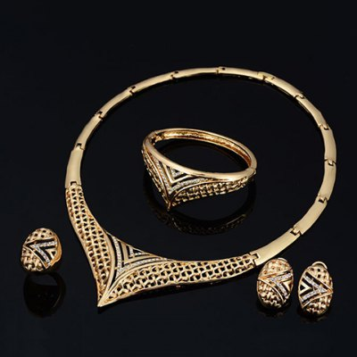 A Suit of Chic Rhinestone Hollow Out V-Shaped Necklace Bracelet Earrings and Ring For WomenNecklaces &amp; Pendants<br>A Suit of Chic Rhinestone Hollow Out V-Shaped Necklace Bracelet Earrings and Ring For Women<br><br>Item Type: Pendant Necklace<br>Gender: For Women<br>Material: Rhinestone<br>Style: Trendy<br>Shape/Pattern: Letter<br>Length: 45CM-50CM(Necklace)/7CM-8CM(Bracelet)/3.7CM(Earring)/1.7CM(Ring)<br>Weight: 0.17KG<br>Package Contents: 1 x Necklace 1 x Bracelet 1 x Earring(Pair) 1 x Ring