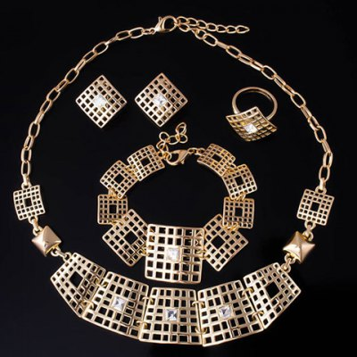A Suit of Stylish Rhinestone Square Necklace Bracelet Earrings and Ring For WomenNecklaces &amp; Pendants<br>A Suit of Stylish Rhinestone Square Necklace Bracelet Earrings and Ring For Women<br><br>Item Type: Pendant Necklace<br>Gender: For Women<br>Material: Rhinestone<br>Style: Trendy<br>Shape/Pattern: Geometric<br>Length: 45CM-50CM(Necklace)/20CM-25CM(Bracelet)/3.5CM(Earring)/1.7CM(Ring)<br>Weight: 0.17KG<br>Package Contents: 1 x Necklace 1 x Bracelet 1 x Earring(Pair) 1 x Ring