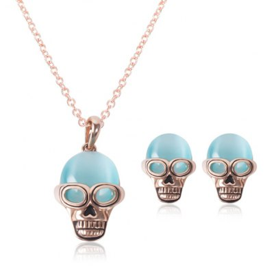 Characteristic Faux Opal Skull Necklace and Earrings
